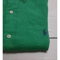 ラルフローレン 長袖 ワンポイント ボタンダウンシャツ リネン 麻 グリーン Polo Ralph Lauren 507