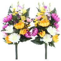 白菊と色菊で彩りを添えた本格的な仏様の花束です。     サイズ:約H45×W35×D25cm(水上...