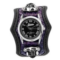艶やかな紫パイソン(蛇)とマットなブラックレザーという質感の 異なる革で相性の良い組み合わせをしたウ...