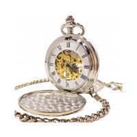 レトロ・アンティーク調の機械式(手巻き)懐中時計です。 ケースが両面蓋仕様のシンプルなデザイン。 白...