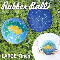 ポップなデザインがかわいい、ほどよい弾力のあるラバーボール。 表面がでこぼこしているためすべりにくく...