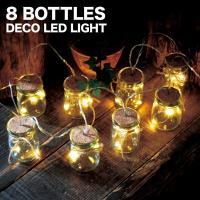 8連の小瓶に連なったLEDライトが パーティーライトとしてはもちろん、日常のインテリアライトとしても...