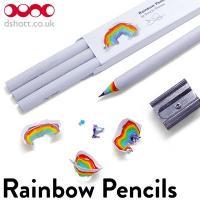 削りカスが虹色のHB鉛筆3本セット 気分を上げてどんどん書こう!   ■サイズ:173mm long...