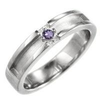地金素材:Pt900 (品質を保証する刻印が入っています) 使用宝石:アメジスト(紫水晶)  1ピー...