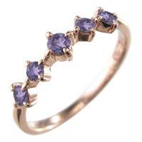 地金素材:ピンクゴールドk18 (品質を保証する刻印が入っています) 使用宝石:アメジスト(紫水晶)...