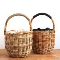 カゴバッグ バケツ 内布付き かごバッグ アラログ 籐 バケツ型バッグ レディース