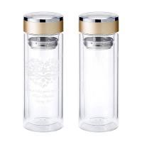 ガラス製の耐熱二重構造マグボトル。 飲み物の色をバックにレリーフしたデザインが映える、おしゃれなタン...