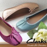 クラークス Clarks フラットシューズ リボン 本革 レザー レディース 213F ぺたんこ靴 歩きやすい バレエシューズ ブルー パープル ゴールド