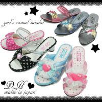 6561a8912d426 女の子 子供靴 キッズ ジュニア DH 2858・2976・22017 サンダル 女の子 リボン ヒール ミュール 水玉 ドット リボン付きミュール  レース メイドインジャパン
