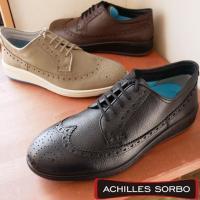 アキレス ソルボ 紳士靴 メンズ 革靴 ウィングチップ ビズスニーカー ビジカジ ウォーキングシューズ 黒 ブラック コーヒー ビジネスシューズ