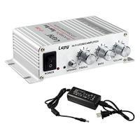 LEPY デジタルアンプ パワーアンプ ステレオアンプ LP-268 アンプ シルバー 電源 付き