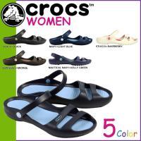 商品説明  【多種多彩なラインナップが魅力の「crocs」!!】 ・つま先のダブルストラップがスタイ...
