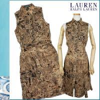 【たくさんの葉で構成された大人な魅力のワンピ】・襟付きのワンピは大人で美しいデザイン・リネン素材だか...