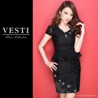 VESTI ベスティ キャバ ドレス キャバドレス ミニ S M L キャバ嬢 キャバクラ セクシー ペプラム ワンピース キャバワンピ ミニワンピ ナイトドレス タイト