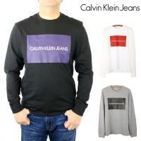 カルバン クライン ジーンズ Calvin Klein Jeans ロゴ プリント グラフィック 長袖 Tシャツ ロンT トップス カットソー クルーネック Uネック 丸襟 メンズ