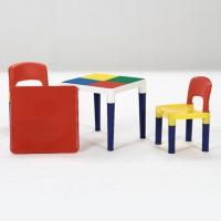 工具要らずで組み立て簡単☆ ブロック遊びもできるテーブル&チェアセットです♪ 天板をつければ、通常の...