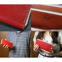 アミティエ AMT-508 日本製ヌメ革ランドファスナー長財布 レッド (HY)|softya|04