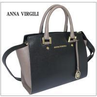ANNA VIRGILI アンナ ヴィルジーリ ハンド バッグ ブラック+グレイッシュブラウン サフィアーノ 107S イタリア製 Made in Italy