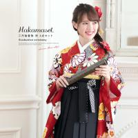 卒業式におすすめなレディース袴セット   ■色 着物 赤にオレンジ 袴 黒  ■素材 着物 ポリエス...