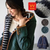 商品名:ボーダー柄裏ボアミドル丈キルトジャケット  真冬にも頼れる暖かさ抜群のコートが再登場。中綿を...