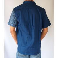 父の日 半袖シャツ 和柄シャツ 市松模様 切り替え 衣櫻 和柄 和風 日本製 国産 SA1209 M L XL XXL|sousakuzakka-koto|11