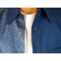 父の日 半袖シャツ 和柄シャツ 市松模様 切り替え 衣櫻 和柄 和風 日本製 国産 SA1209 M L XL XXL|sousakuzakka-koto|14