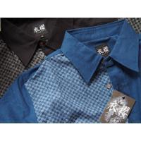 父の日 半袖シャツ 和柄シャツ 市松模様 切り替え 衣櫻 和柄 和風 日本製 国産 SA1209 M L XL XXL|sousakuzakka-koto|19