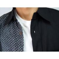 父の日 半袖シャツ 和柄シャツ 市松模様 切り替え 衣櫻 和柄 和風 日本製 国産 SA1209 M L XL XXL|sousakuzakka-koto|06