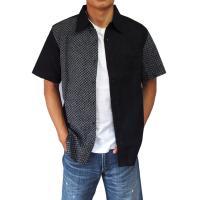 父の日 半袖シャツ 和柄シャツ 市松模様 切り替え 衣櫻 和柄 和風 日本製 国産 SA1209 M L XL XXL|sousakuzakka-koto|09
