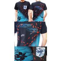 和柄Tシャツ 半袖tシャツ【絡繰魂】金魚刺繍ポケTee メンズ 黒 白|sousakuzakka-koto|02