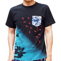 和柄Tシャツ 半袖tシャツ【絡繰魂】金魚刺繍ポケTee メンズ 黒 白|sousakuzakka-koto|04