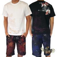 和柄Tシャツ と ハーフパンツ、巾着の3点セット 絡繰魂 金魚刺繍旅のSET UP sousakuzakka-koto