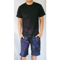 和柄Tシャツ と ハーフパンツ、巾着の3点セット 絡繰魂 金魚刺繍旅のSET UP sousakuzakka-koto 02