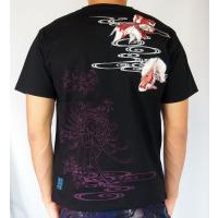 和柄Tシャツ と ハーフパンツ、巾着の3点セット 絡繰魂 金魚刺繍旅のSET UP sousakuzakka-koto 05