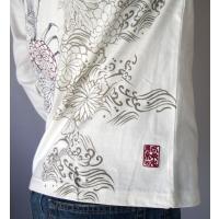 和柄tシャツ 【絡繰魂】生け花 ヘンリーネックTシャツ ロンT 刺繍 メンズ 黒 白|sousakuzakka-koto|18