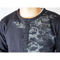 和柄tシャツ 【絡繰魂】生け花 ヘンリーネックTシャツ ロンT 刺繍 メンズ 黒 白|sousakuzakka-koto|08