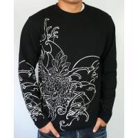 和柄tシャツ 絡繰魂  大鷲刺繍 ロンT tシャツ メンズ 黒 白291003|sousakuzakka-koto|02