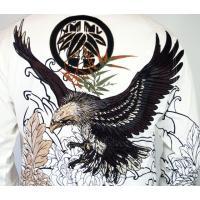和柄tシャツ 絡繰魂  大鷲刺繍 ロンT tシャツ メンズ 黒 白291003|sousakuzakka-koto|13