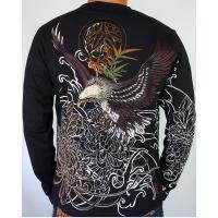 和柄tシャツ 絡繰魂  大鷲刺繍 ロンT tシャツ メンズ 黒 白291003|sousakuzakka-koto|03