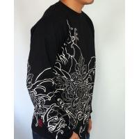 和柄tシャツ 絡繰魂  大鷲刺繍 ロンT tシャツ メンズ 黒 白291003|sousakuzakka-koto|04