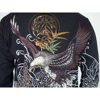 和柄tシャツ 絡繰魂  大鷲刺繍 ロンT tシャツ メンズ 黒 白291003|sousakuzakka-koto|09