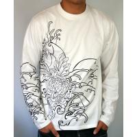和柄tシャツ 絡繰魂  大鷲刺繍 ロンT tシャツ メンズ 黒 白291003|sousakuzakka-koto|10
