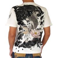 和柄 tシャツ【絡繰魂】青目鯉&蓮刺繍 半袖Tシャツ メンズ 黒 白|sousakuzakka-koto|04