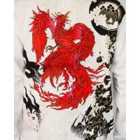 和柄Tシャツ 長袖Tシャツ【絡繰魂】不死鳥 刺繍 ロンT メンズ 黒 白|sousakuzakka-koto|11