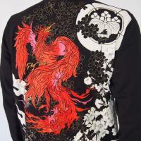 和柄Tシャツ 長袖Tシャツ【絡繰魂】不死鳥 刺繍 ロンT メンズ 黒 白|sousakuzakka-koto|04