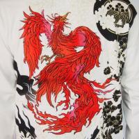 和柄Tシャツ 長袖Tシャツ【絡繰魂】不死鳥 刺繍 ロンT メンズ 黒 白|sousakuzakka-koto|10