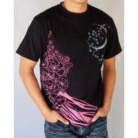 和柄tシャツ 絡繰魂  浮世絵刺繍「喜多川歌麿」半袖Tシャツ tシャツ メンズ 黒 白 292021 UTAMRO 美人画|sousakuzakka-koto|02