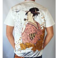 和柄tシャツ 絡繰魂  浮世絵刺繍「喜多川歌麿」半袖Tシャツ tシャツ メンズ 黒 白 292021 UTAMRO 美人画|sousakuzakka-koto|13