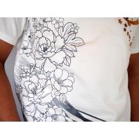 和柄tシャツ 絡繰魂  浮世絵刺繍「喜多川歌麿」半袖Tシャツ tシャツ メンズ 黒 白 292021 UTAMRO 美人画|sousakuzakka-koto|15