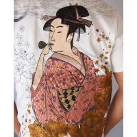 和柄tシャツ 絡繰魂  浮世絵刺繍「喜多川歌麿」半袖Tシャツ tシャツ メンズ 黒 白 292021 UTAMRO 美人画|sousakuzakka-koto|18